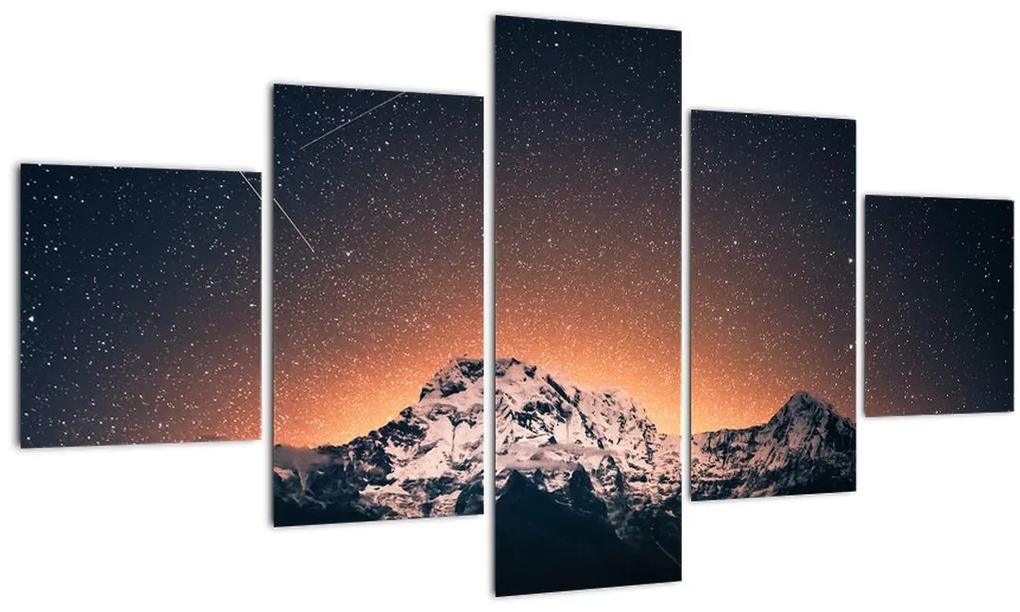 Obraz nočnej oblohy s horou (125x70 cm), 40 ďalších rozmerov