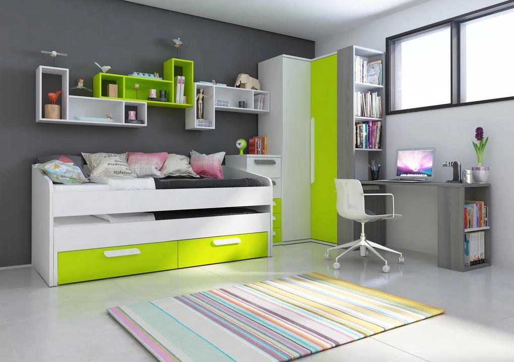 Detská izba B s rohovou šatníkovou skriňou, prístelkou - zelená - Detská posteľ s prístelkou B