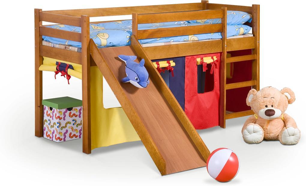 MAXMAX Vyvýšená detská posteľ z masívu so šmýkačkou 190x80cm - NELA 2 + matrace ZADARMO! 190x80 pre všetkých NIE