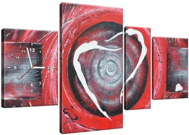 Obraz s hodinami Postavy v červenom kruhu 120x70cm ZP3438A_4AN