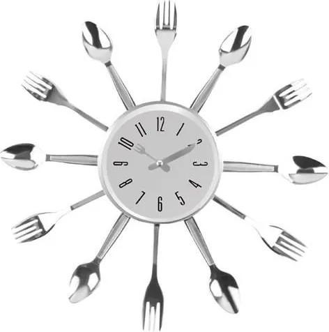 ISO Kuchynské nástenné hodiny s príbory, strieborná, 7962