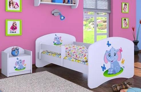 MAXMAX Detská posteľ bez šuplíku 140x70cm SLON A MOTÝLCI