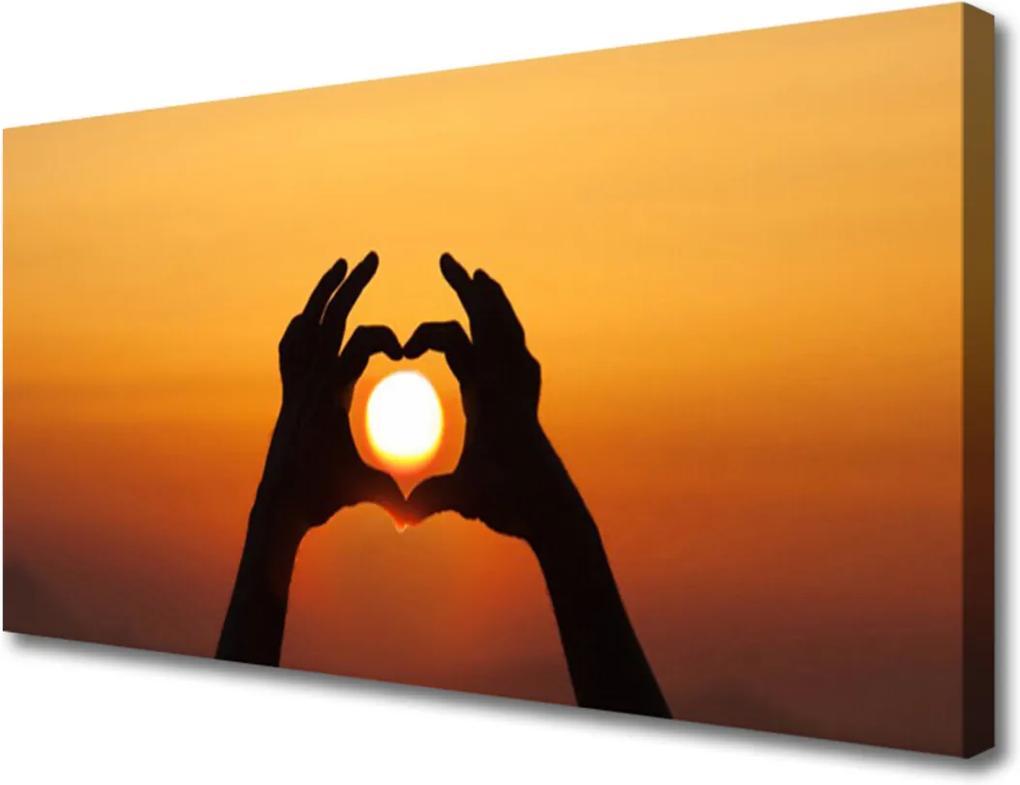 Obraz Canvas Ruce srdce slunce láska