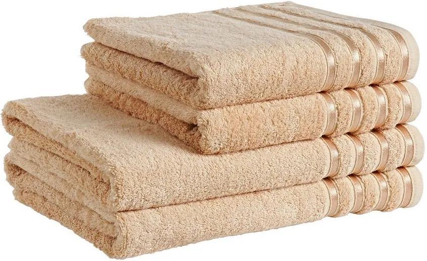 Škodák Uterák / osuška z bambusového vlákna Pásiky - béžová - Malý uterák 30 x 50 cm