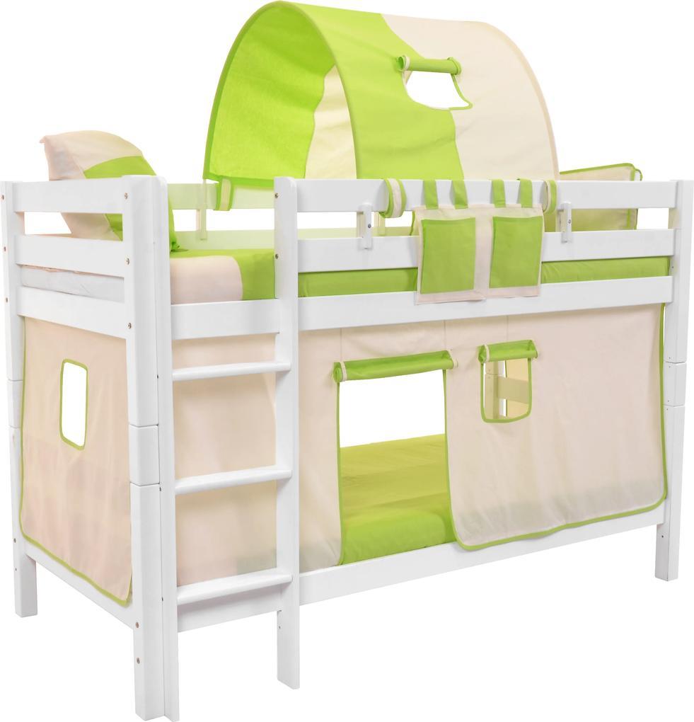 MAXMAX Detská poschodová posteľ s domčekom BEIGE - MARK 200x90cm - biela 200x90 pre všetkých NIE
