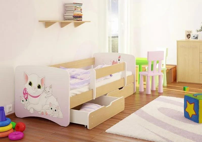 MAXMAX Detská posteľ Mačička funny 160x90cm - so zásuvkou 160x90 pre dievča ÁNO