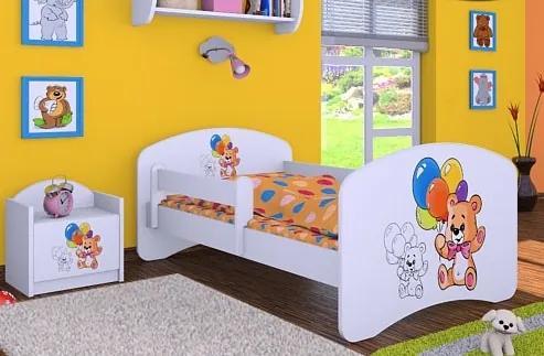 MAXMAX Detská posteľ bez šuplíku 140x70cm MEDVÍDCI S BALONKY 140x70 pre dievča|pre chlapca|pre všetkých NIE multicolor