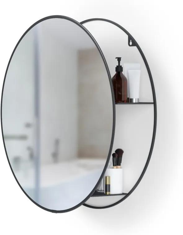 Okrúhle nástenné zrkadlo s čiernou kovovou policou Umbra Cirko