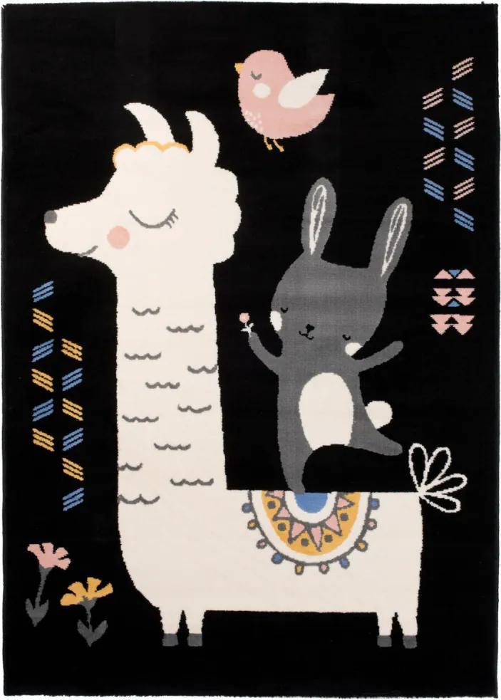 Detský kusový koberec PP Lama čierny, Velikosti 120x170cm