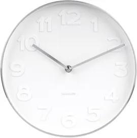 Karlsson Biele nástenné hodiny - Karlsson Mr. White Steel, OE 27,5 cm