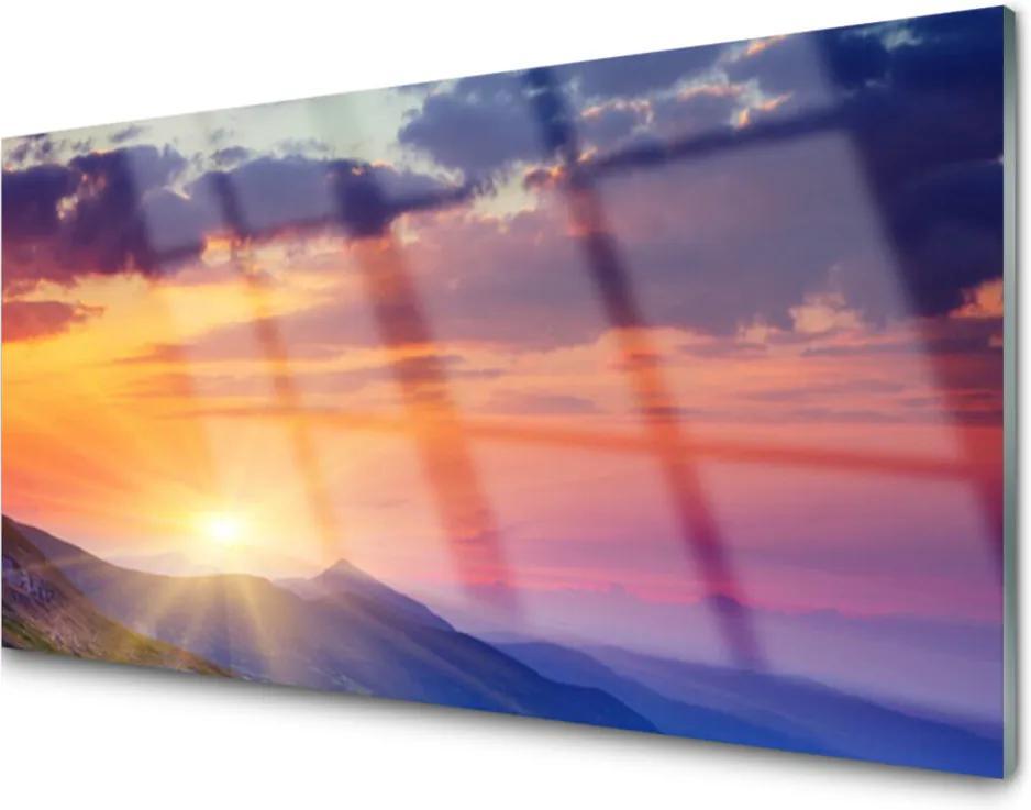 Skleněný obraz Slunce hory krajina