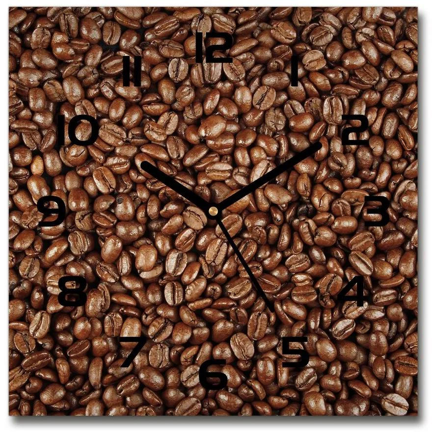 Sklenené hodiny štvorec Zrnká kávy pl_zsk_30x30_f_61382214