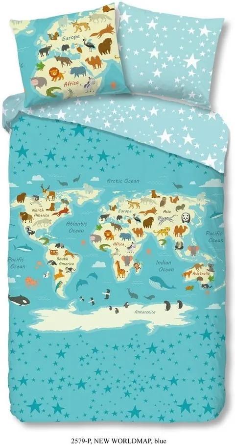 Detské bavlnené obliečky na jednolôžko Good Morning Worldmap, 140 × 200 cm