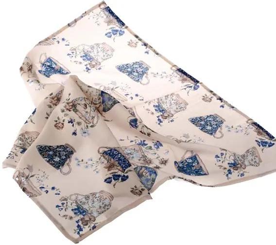 obrus modré šálky kvietky 85 × 85 cm