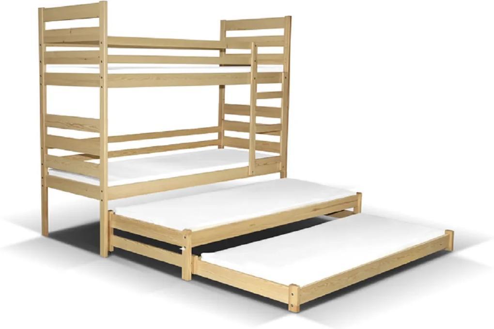MAXMAX Detská poschodová posteľ s dvoma prístelkami pre 4 osoby MULTI 200x90 cm + matrac ZADARMO! 200x90 NIE