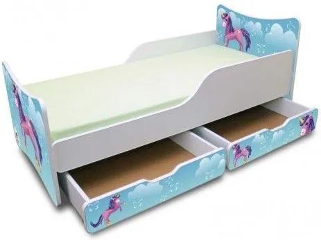 MAXMAX Detská posteľ 160x90 cm so zásuvkou - Jednorožec V OBLAKOCH 160x90 pre dievča ÁNO
