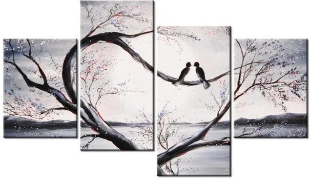 Tlačený obraz Vtáčia láska na konári 120x70cm 2516A_4Z
