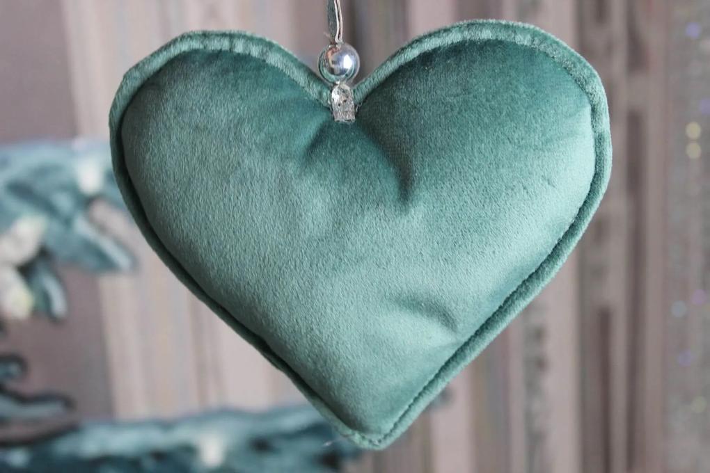 Modro zelené tiffany závesné zamatové srdce 15cm