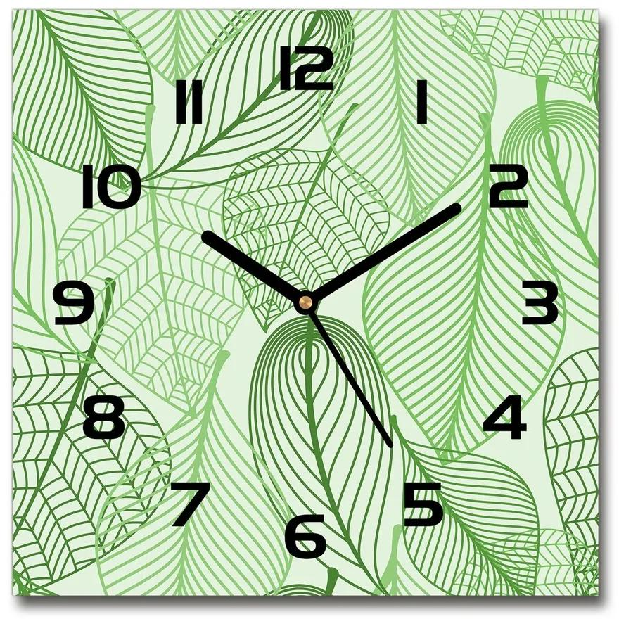 Sklenené hodiny štvorec Listy vzor pl_zsk_30x30_f_69861578