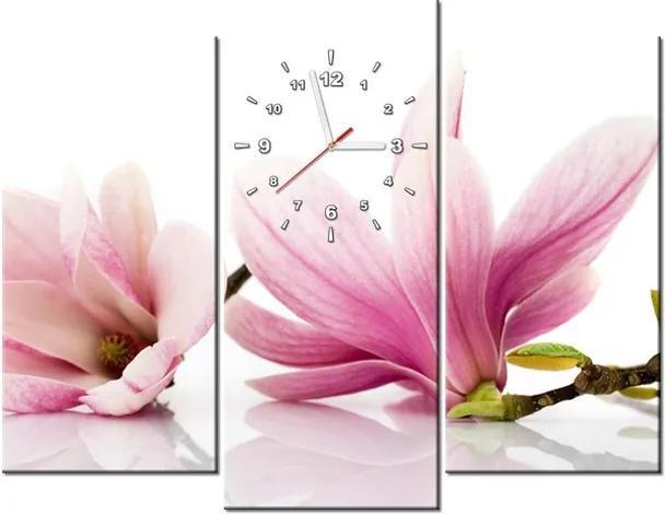 Tlačený obraz s hodinami Ružové magnólie 90x70cm ZP1179A_3C