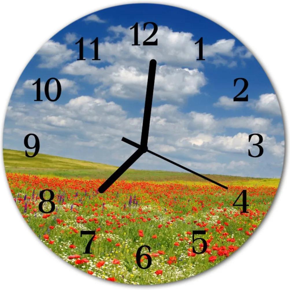 Skleněné hodiny kulaté Pole mak
