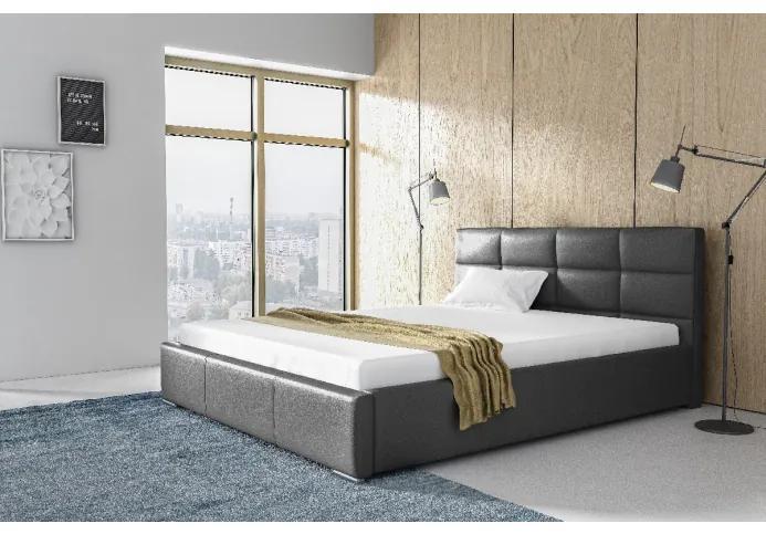 Elegantné jednolôžko Garret s úložným priertorom šedá eko koža 140 x 200