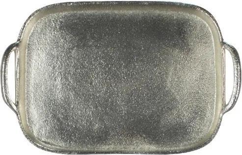 Servírovací podnos stříbrný vzhled oválný 31x20cm - 31*20