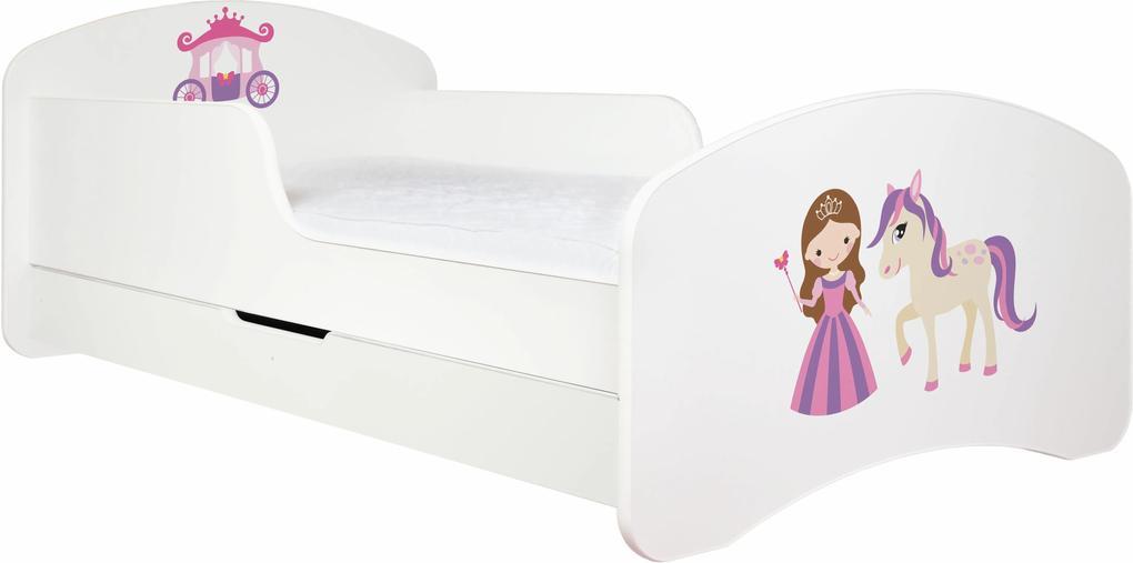 MAXMAX Detská posteľ so zásuvkou 160x80cm PRINCEZNA A KONÍK + matrace ZADARMO!