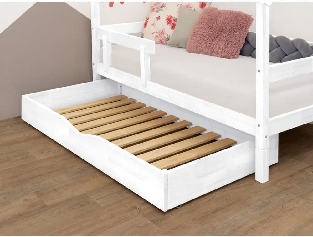 Biela drevená zásuvka pod posteľ Benli Buddy, 90 x 140 cm