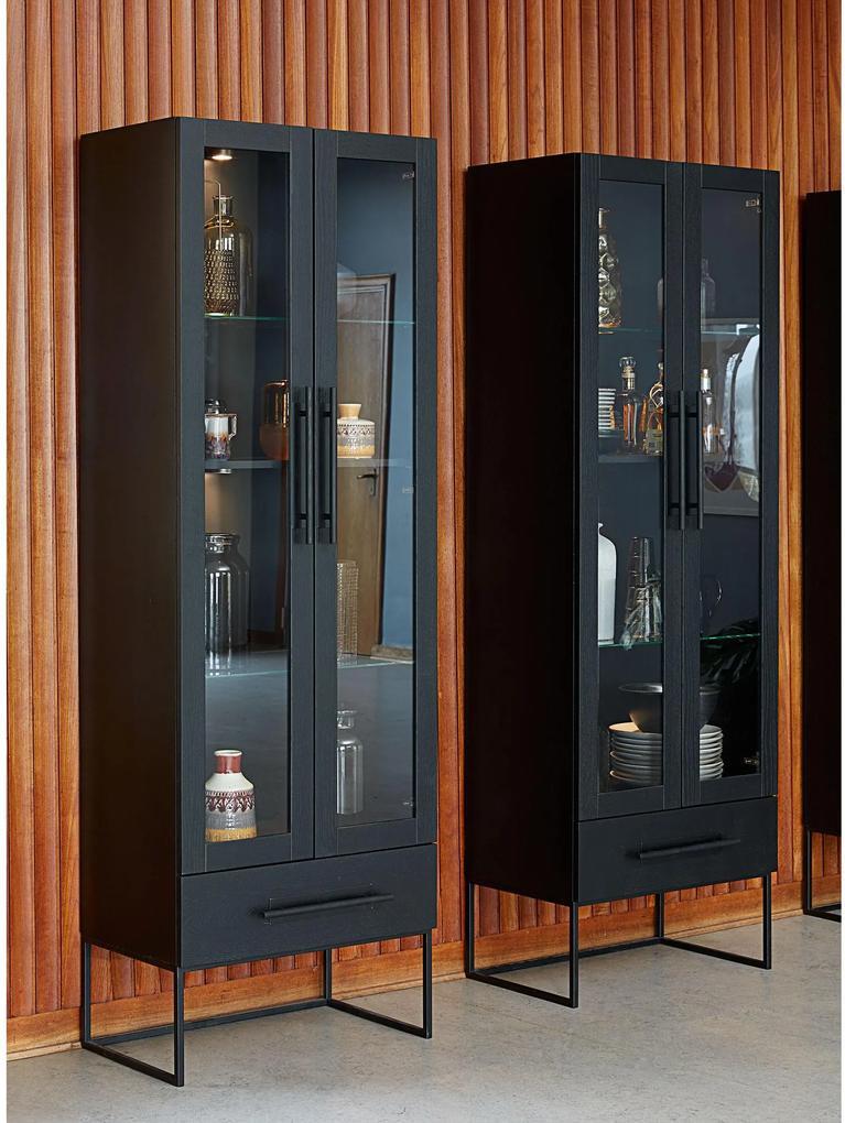 Timon skrinka/ vitrína čierna 205 cm