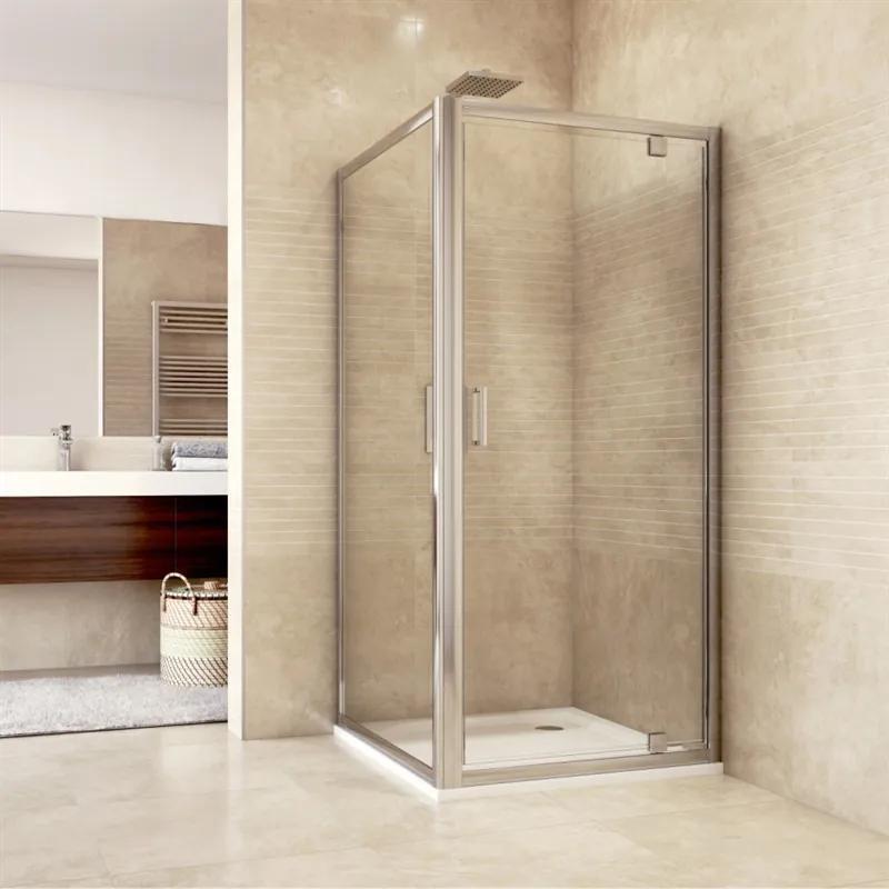 MAXMAX Sprchovací kút, Mistic, štvorec, 100 cm, chróm ALU, sklo Číre, dvere pivotové