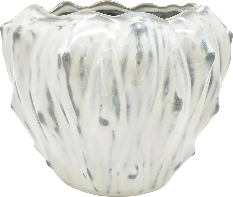 PRESENT TIME Sada 2 ks Biely keramický kvetináč Flora veľký - zl'ava 20% (VEMZUDNI20)