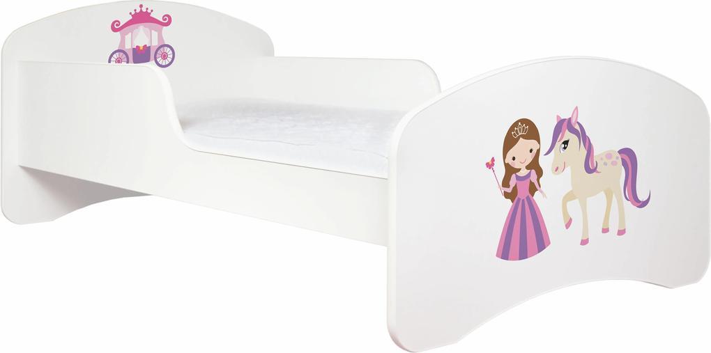 MAXMAX Detská posteľ bez šuplíku 190x90cm PRINCEZNA A KONÍK + matrace ZADARMO! 190x90 pre dievča NIE ružová|multicolor