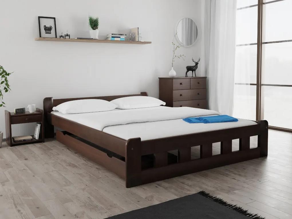 Maxi Drew Posteľ Naomi zvýšená 140 x 200 cm, orech Rošt: s latkovým roštom, Matrac: s matracom Economy 10 cm