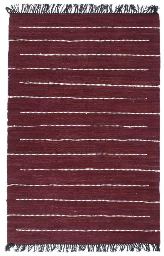 vidaXL Ručne tkaný koberec Chindi vínový 160x230 cm bavlnený