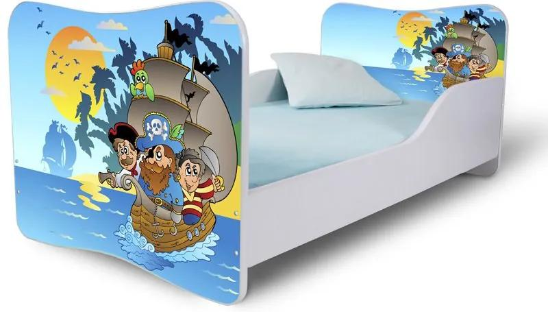 MAXMAX Detská posteľ PIRÁTI + matrac ZADARMO 180x80 pre chlapca NIE