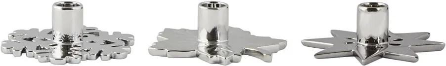Sada 3 keramických svietnikov Villa Collection Tealight Silver