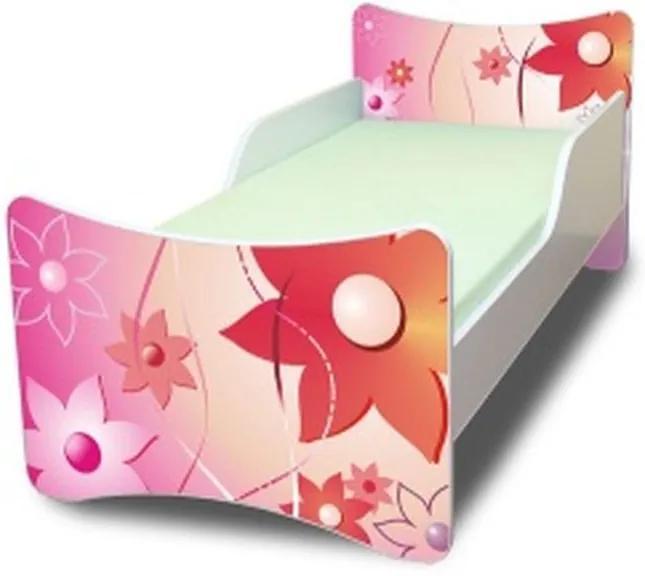 MAXMAX Detská posteľ 180x90 cm - KVETINKY 180x90 pre dievča NIE