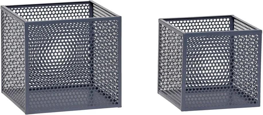 Sada 2 sivých úložných boxov Hübsch Pittao