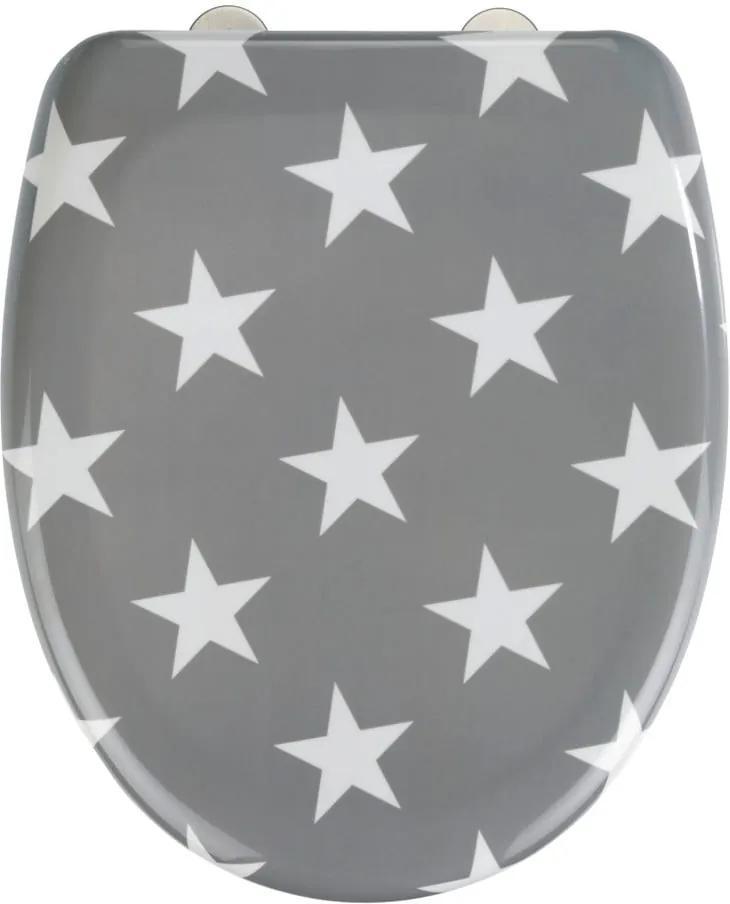 Sivé WC sedadlo s jednoduchým zatváraním Wenko Stella, 45 × 38 cm