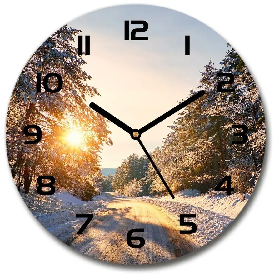 Sklenené hodiny na stenu Cesta v lese zima pl_zso_30_f_77332313
