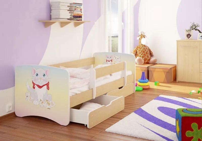 MAXMAX Detská posteľ MAČIATKO funny 160x80 cm - sa zásuvkou 160x80 pre dievča ÁNO