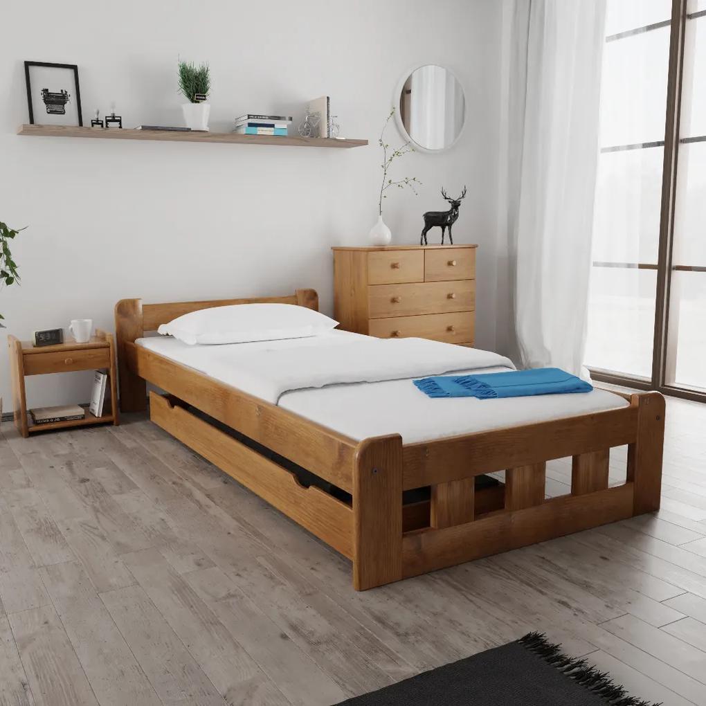 Maxi Drew Posteľ Naomi zvýšená 120 x 200 cm, dub Rošt: s latkovým roštom, Matrac: s matracom Economy 10 cm