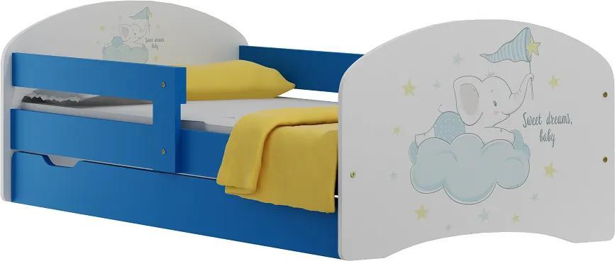 MAXMAX Detská posteľ so zásuvkami SLON na obláčiku 180x90 cm 180x90 pre dievča|pre chlapca|pre všetkých ÁNO