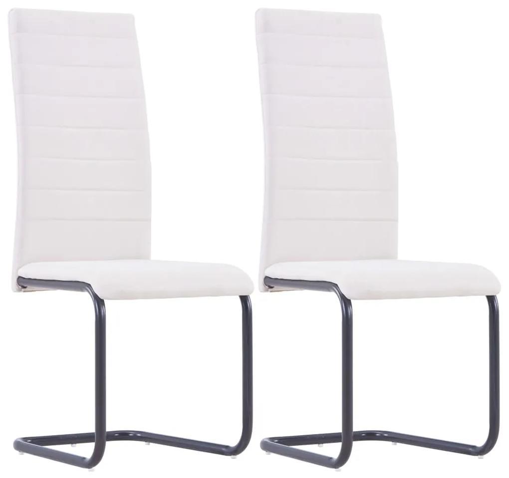 vidaXL Jedálenské stoličky, perová kostra 2 ks, krémové, látka