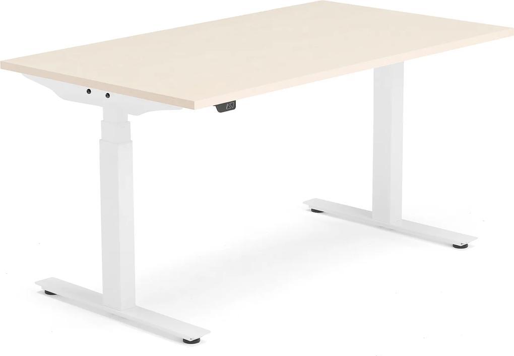 Výškovo nastaviteľný stôl Modulus, T-rám, 1400x800 mm, breza/biela
