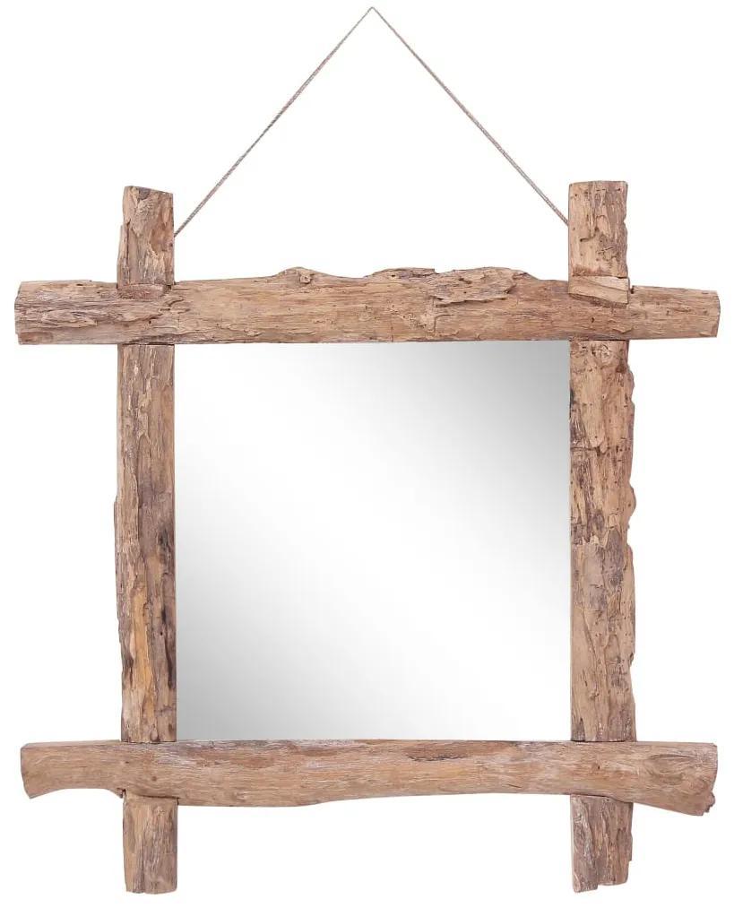 vidaXL Guľatinové zrkadlo prírodné 70x70 cm masívne recyklované drevo
