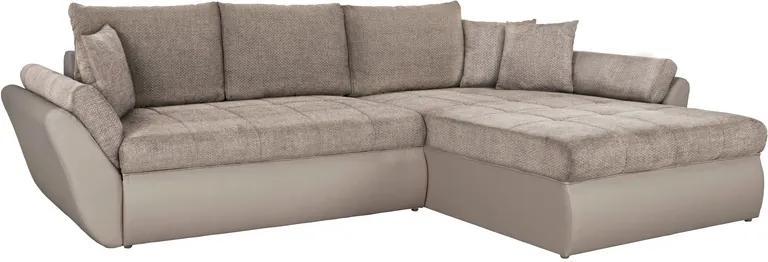 Rohová sedacia súprava Lola, šedá ekokoža/béžová tkanina
