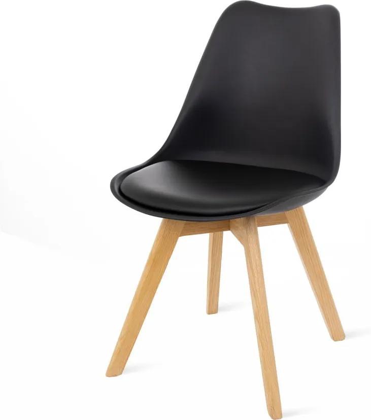 Sada 2 čiernych stoličiek s bukovými nohami loomi.design Retro