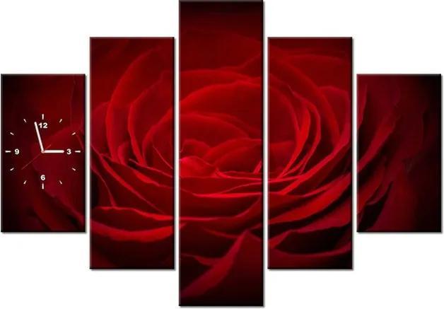 Tlačený obraz s hodinami Ruža pre lásku 150x105cm ZP2394A_5H